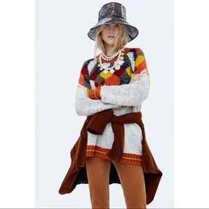 Zara Knit Chunky Geometric Sweater Size Small